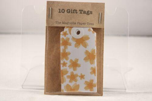 Fleur Orange Cadeau Étiquettes x 10 Le Magnolia Papier Arbre
