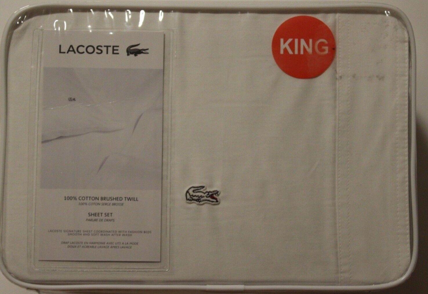 New LACOSTE Queen Sheet Set 4 Pc 100% Brushed Twill Cotton Weiß