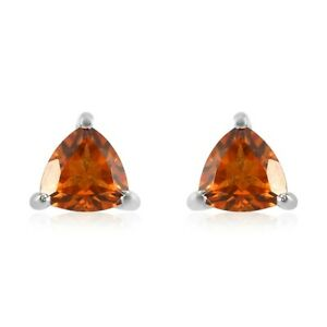 Platinum Over 925 Sterling Silver Citrine Solitaire Stud Earrings Jewelry Ct 0.8