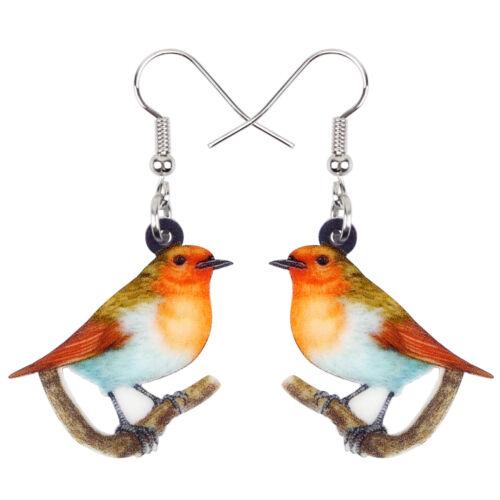 Acrylique repos Robin Oiseau Boucles d/'oreilles Goutte Dangle Jewelry for Women Kid Cadeau Charme