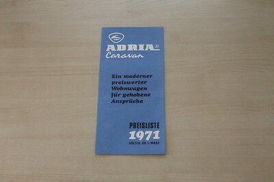 Obligatorisch 178010 Modellprogramm Preisliste Prospekt 03/1971 Waren Des TäGlichen Bedarfs Adria Wohnwagen