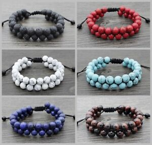 Women-Men-Natural-Stone-Tiger-Eye-Rock-Lava-Beaded-Braided-Rope-Double-Bracelets