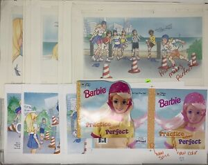 Original-1997-Watercolor-Art-Barbie-Practice-Makes-Perfect-Childrens-Golden-Book