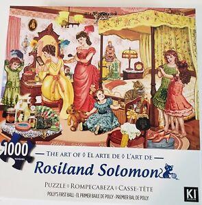 Ki-Jigsaw-Puzzle-Rosiland-Solomon-POLLY-039-S-FIRST-BALL-1000-Pieces-EUC