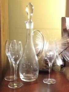 Toscany-Romania-Cut-Flowers-Decanter-amp-3-Goblets-Footed-Stems