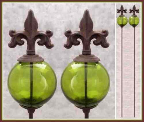 Details About 2 FLEUR DE LIS U0026 GREEN GLASS GLOBE Cast Iron GARDEN STAKES  Yard Art Garden Decor