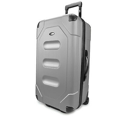"US Traveler Long Haul 28"" Silver Cargo Trunk Case Light Rolling Luggage Suitcase"
