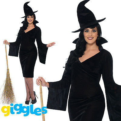 Plus Size Wicked Witch Costume Womens Ladies Halloween Fancy Dress Outfit + Hat