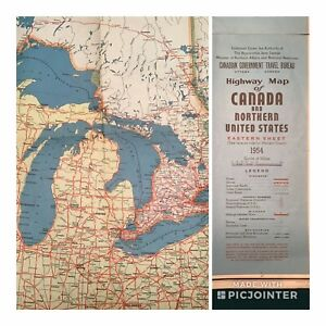 Details about 1954 HIGHWAY MAP OF CANADA and NORTHERN UNITED STATES & The  Great Lakes (aT)