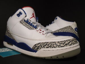 reputable site b3207 4695b Details about NIKE AIR JORDAN III 3 RETRO OG WHITE FIRE RED TRUE BLUE  CEMENT GREY BLACK 10