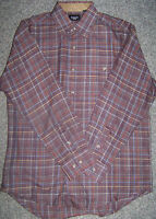 New Mens Haggar Huntsman Long Sleeve Casual Plaid Shirt Size Small Wine Heather