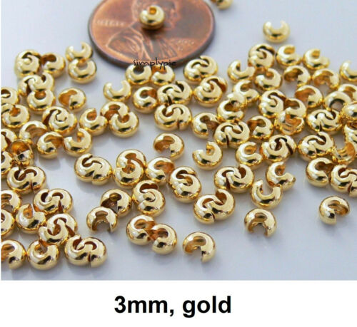 Brass Crimp Cover Metal Findings 50 Choose Size and Color