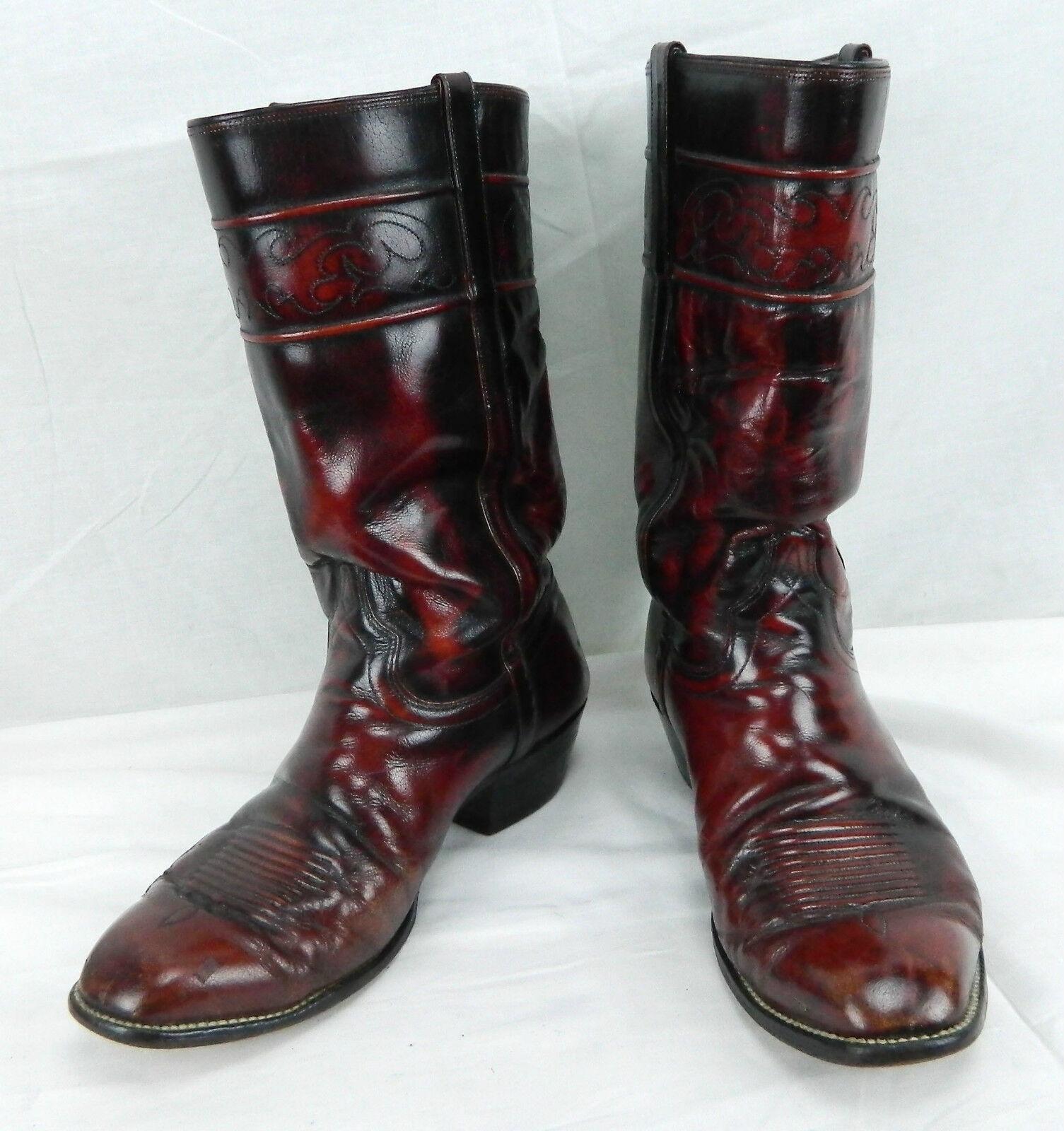 Vtg Mens El Dorado Sz 8 EE Western Cowboy Boots Maroon Leather Extra Wide