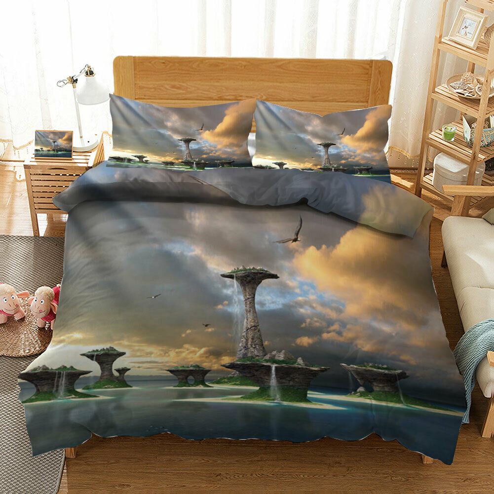 Great Picturesque 3D Quilt Duvet Doona Cover Set Single Double Queen King Print