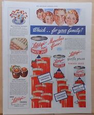 1937 magazine ad for Libby's Tomato Juice - colorful, juice cans & many glasses