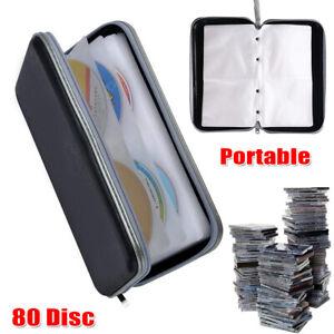 80-CD-DVD-Blu-Ray-Disc-Portable-Case-Holder-Bag-Wallet-Storage-Ring-Binder-Black