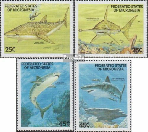 Mikronesien 128131 complete.issue. unmounted mint never hinged 1989 Sharks