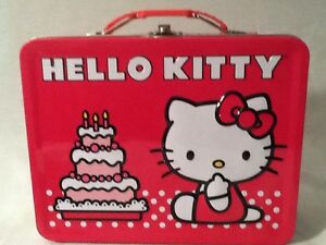 HELLO-KITTY-Embossed-Birthday-Cake-Tin-Lunch-Box-Santo-Kawaii-NEW