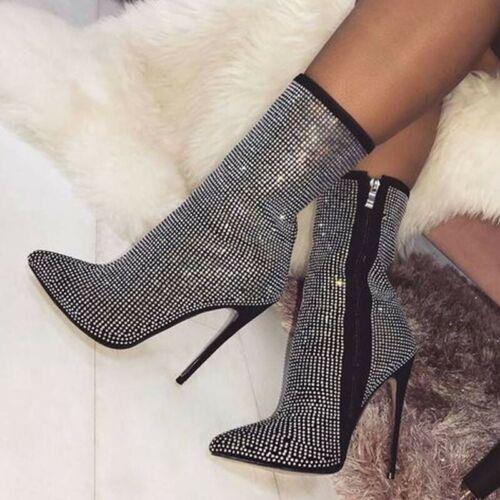 Women/'s Rhinestones Glitter Stilettos High Heel Pointy Toe Ankle Boots 45//46//47