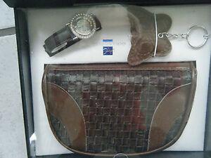 Handtaschen-Set-mit-Uhr-Schluesselanhaenger-braun-NEU-OVP