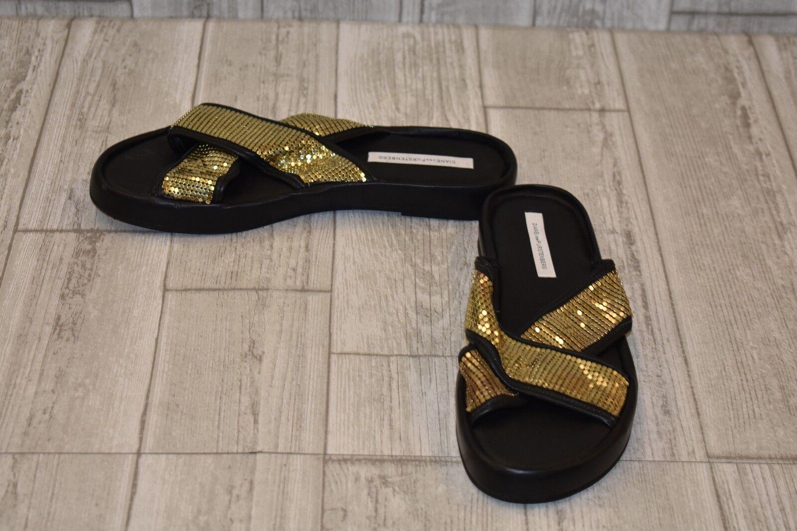 Diane von Furstenberg gold Shimmer Slides - Women's Size 10.5 - gold