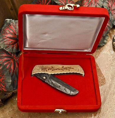 SFK CUTLERY HAND FORGED DAMASCUS STEEL POCKET KNIFE - VELVET BOX - OS-1233