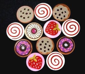 LEGO-DESERT-Minifig-Cookie-Food-Swirl-Chocolate-Chip-Donuts-Strawberry-Tart-Tile