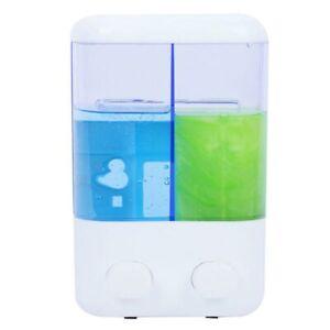 Dispenser Sapone Liquido Doppio a Parete Casa Negozio Bagno 2 x 500ml Bianco