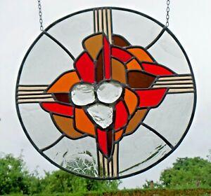 Bleiverglasung-Fensterbild-sakrales-abstraktes-modernes-Kreuz-mit-Trinitaet