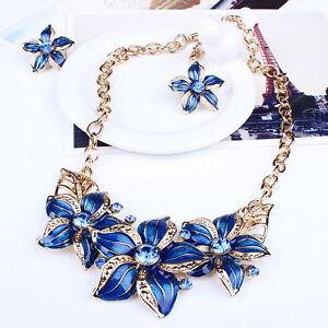 Bib-Collar-Necklace-Crystal-Acrylic-Charm-Flower-Chain-Choker-Statement-Beauty