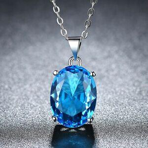 Damen-Halskette-Silber-925-Meer-Blau-Topas-Stein-Kette-Silber-Anhaenger-Geschenk