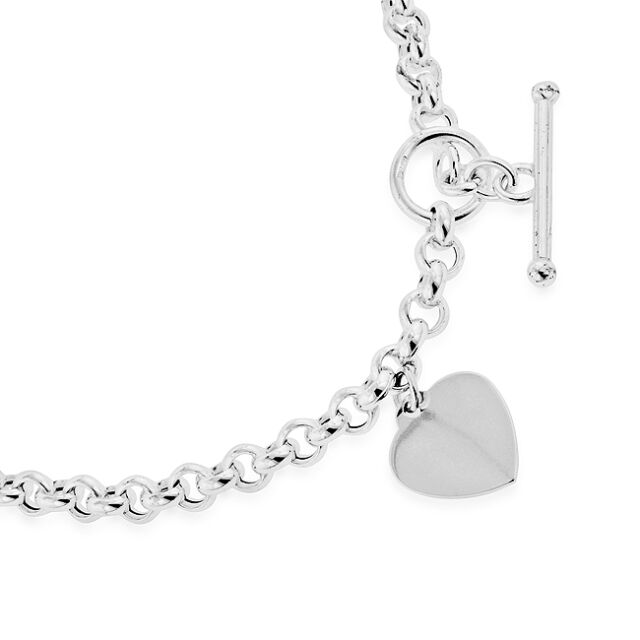 """Sterling Silver Rolo Necklace with Polished Heart Charm & Toggle Clasp - 18"""""""