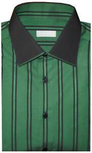 850-NEW-STEFANO-RICCI-GREEN-amp-BLACK-STRIPE-HANDMADE-DRESS-SHIRT-EU-43-17