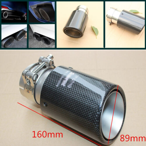 89MM Glossy Carbon fiber car exhaust tip Exhaust Tip Pipe Universal 63MM