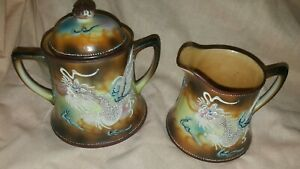 Vintage-Japanese-moriage-dragonware-porcelain-cream-and-sugar-set
