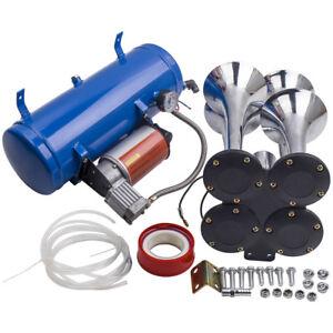 4-Trumpet-Train-Truck-Air-Horn-Kit-150PSI-150db-with-12V-24V-Air-Compressor