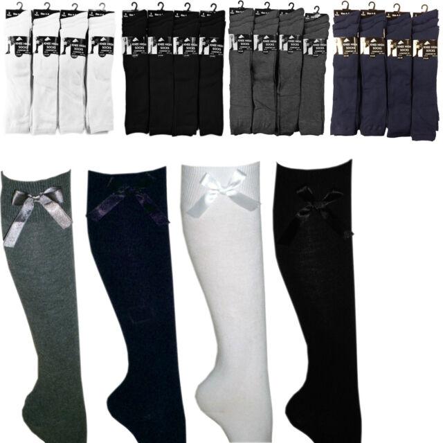 3 6 Pairs LOT Girls Boys Plain Socks Ankle High Lycra Cotton Rich School Uniform