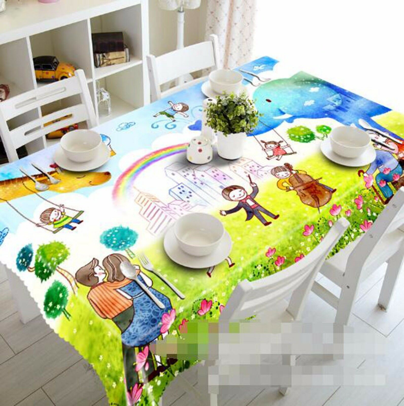 3D Rainbow 48 Tablecloth Table Cover Cloth Birthday Party AJ WALLPAPER UK Lemon