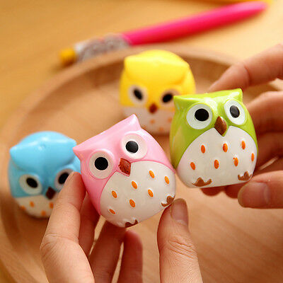 2Pcs Fun Cute Lovely Owl Pattern Pencil Sharpener School Kid's Favorite Adorable