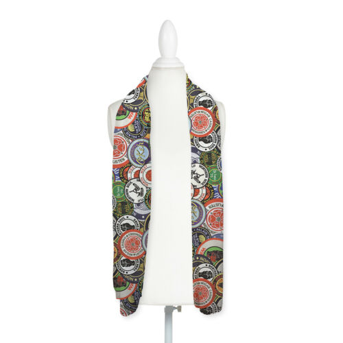 Colourful Northern Soul Patches Design Lightweight Chiffon Long Scarf *SALE*