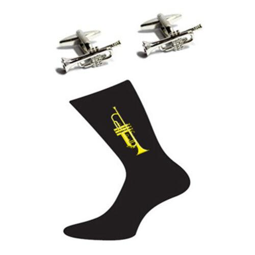 Pair of Trumpet Design Cotton Rich Socks /& Trumpet Cufflinks