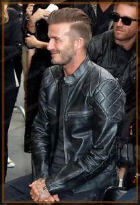 a3b5ef983 Details about Men's Lambskin Leather Jacket David Beckham Genuine Stylish  Biker Motorcycle V02