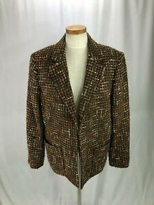 Jones-New-York-Signature-Woman-Wool-Blend-Blazer-14W-Brown-plaid-fuzzy-Jacket