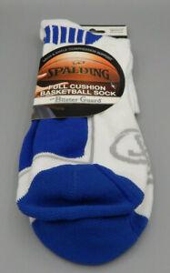 Mens-Blue-amp-White-Spalding-Full-Cushion-Quarter-Basketball-Socks-size-L-6-12