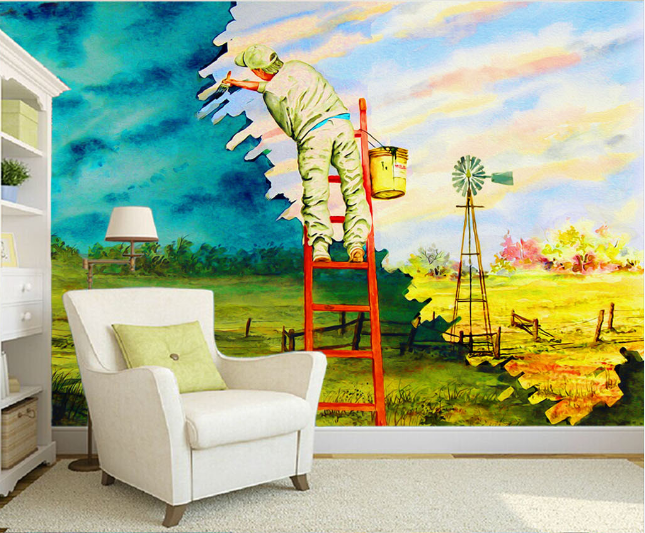 3D Painted Painter Paper Wall Print Wall Decal Wall Deco Indoor Murals