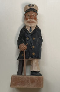 """Wooden Boat Captain With Wood Peg Leg Pre Owned Nautical Decoration 6 1/4"""" Tall"""