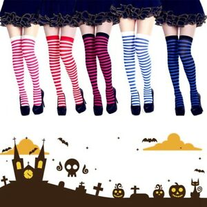 1-Pair-Women-Stripy-Tights-Girls-Stripe-Fancy-Socks-Halloween-Knee-Stockin-S-97k