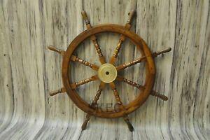 36-039-039-LARGE-Antique-handmade-nautical-Wooden-Maritime-Decor-Captains-Ships-Wheel