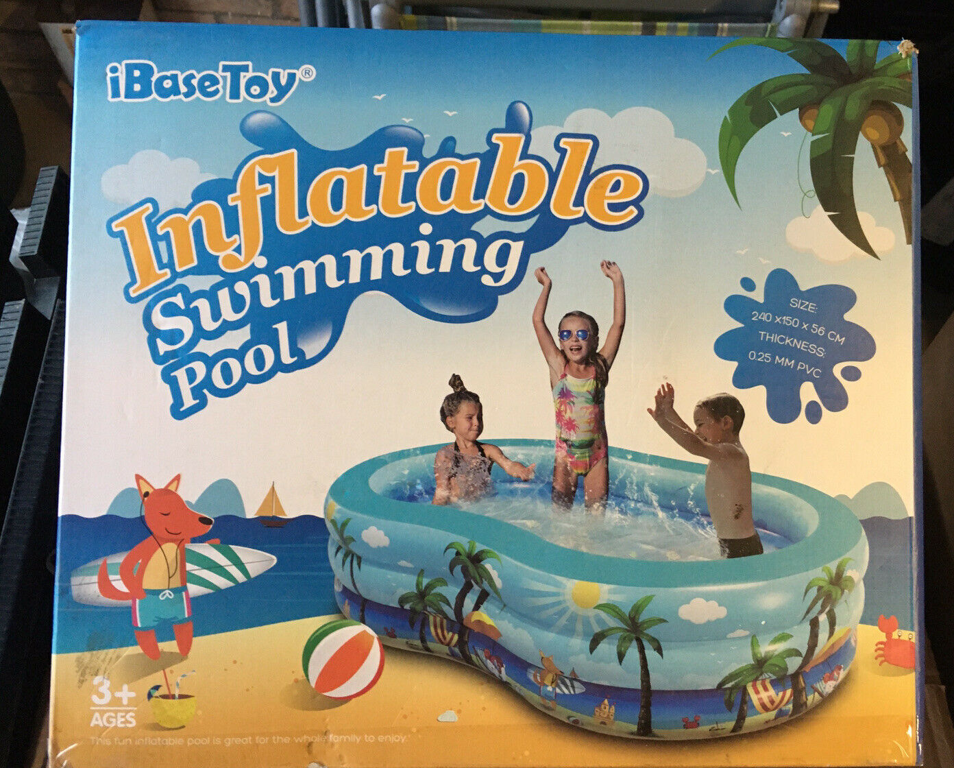 Inflatable Swimming Pool, 240 x 150 x 56cm. Large Family Inflatable Pool