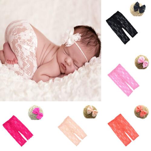 bandeau Costume Photo Photography Prop Outfits Newborn Baby Girl dentelle pantalon